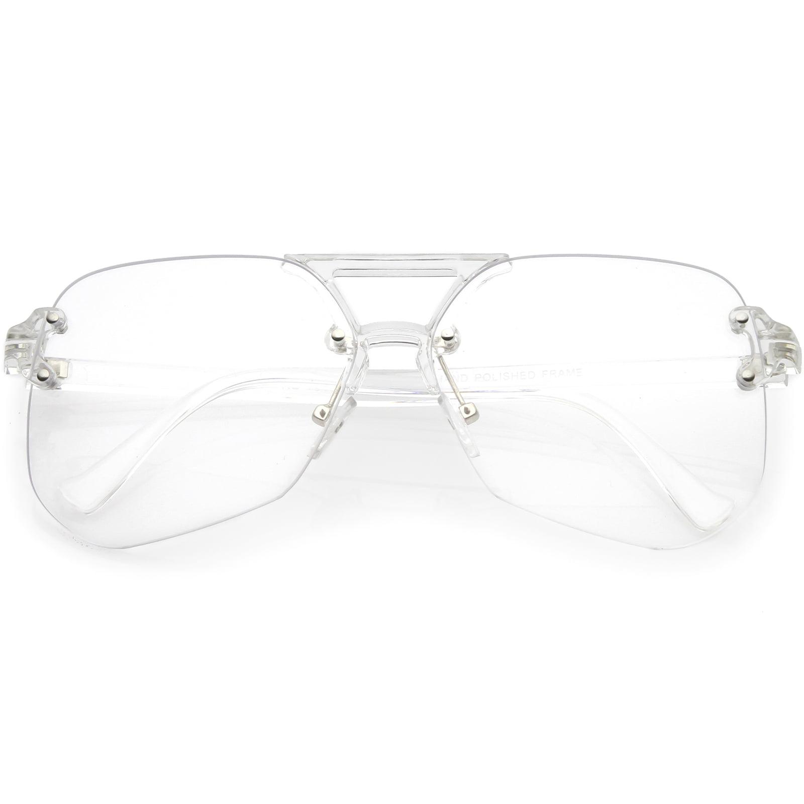 clear sunglasses walmart Oakley Ice Iridium Polarized Lenses product image oversize rimless aviator sunglasses with keyhole bridge super flat lens 60mm clear clear