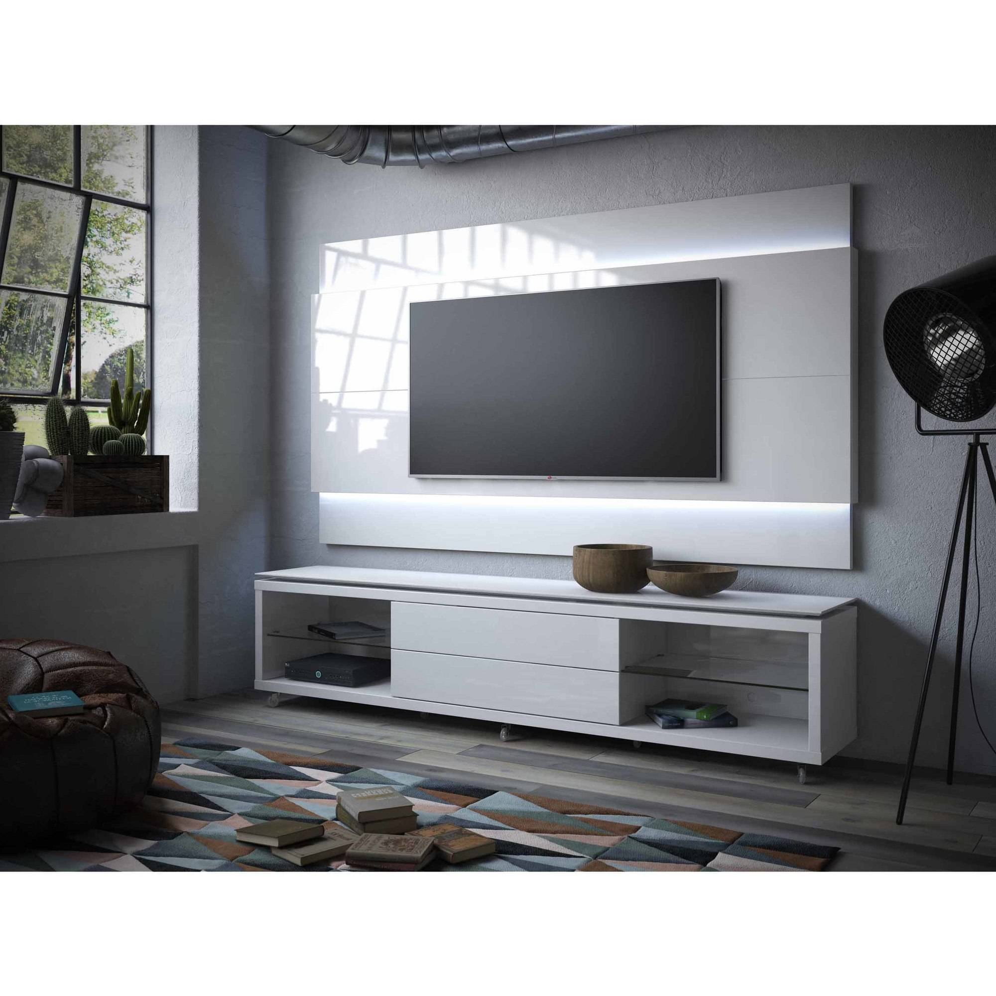 Manhattan Comfort Lincoln TV Stand With Silicon Casters And Lincoln  Floating Wall TV Panel With LED