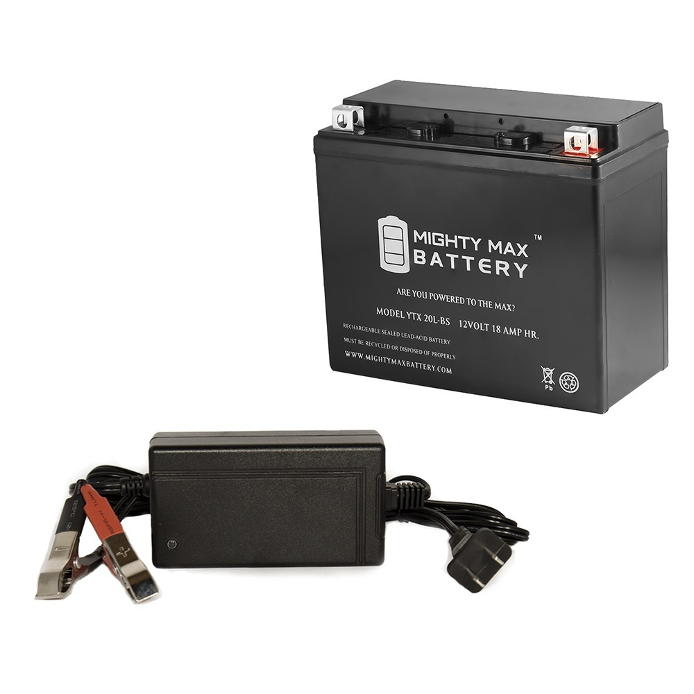 YTX20L-BS Battery for Kawasaki Jet Ski JS440 440cc + 12V 4Amp Charger by Mighty Max Battery