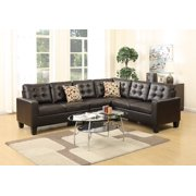 Living Room Sectional Sofa Modern Espresso 4pcs Set Bonded Leather Modular Sectionals Sleek Tufted L