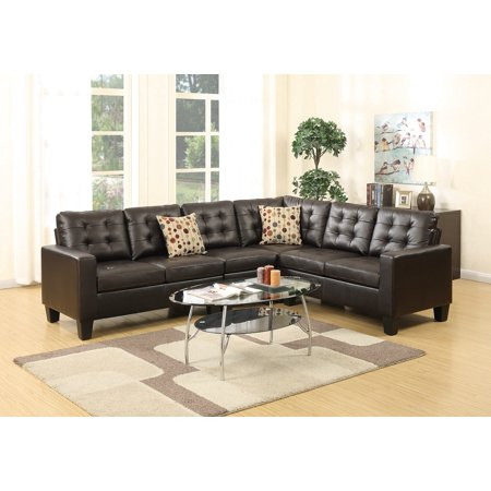 Living Room Sectional Sofa Modern Espresso 4pcs Set Bonded Leather Modular  Sectionals Sleek Tufted Love-seat Corner Wedge Chair