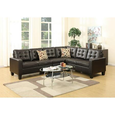 Living Room Sectional Sofa Modern Espresso 4pcs Set Bonded ...