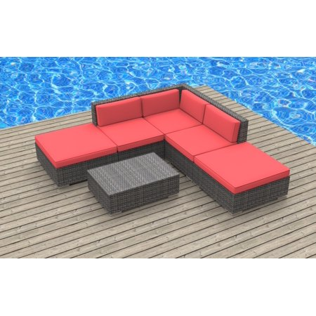 Urban Furnishing - BALI 6pc Modern Outdoor Wicker Patio Furniture Modular  Sofa Sectional Set, Fully Assembled - Coral Red
