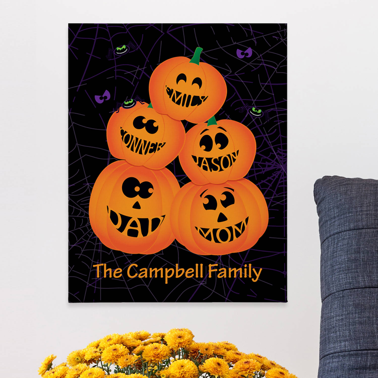 Personalized Stacked Pumpkins Canvas Wall Art