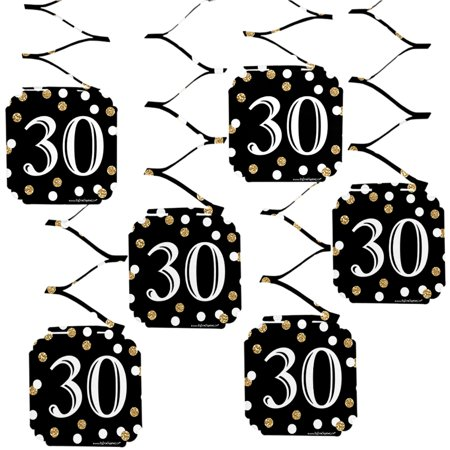 Adult 30th Birthday - Gold - Birthday Party Hanging Decorations - 6 Count - 30th Birthday Decorations Black And White