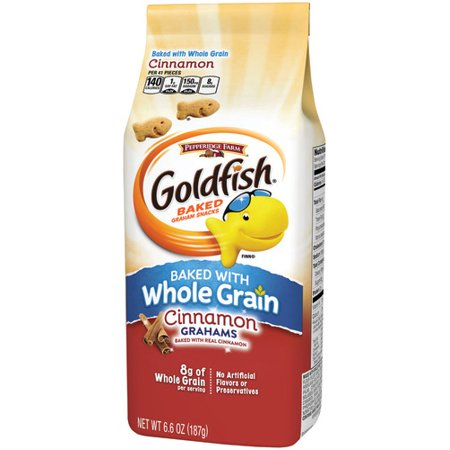 - Pepperidge Farm Goldfish Baked with Whole Grain Cinnamon Graham Crackers, 6.6 oz. Bag