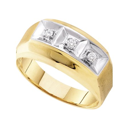 (10kt Yellow Gold Mens Round Diamond 3-stone Two-tone Wedding Band Ring 1/10 Cttw)