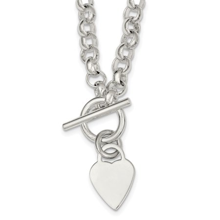 925 Sterling Silver Toggle Necklace (925 Sterling Silver Engraveable Heart Disc On Link Toggle Chain Necklace Pendant Charm S/love Engravable Gifts For Women For)