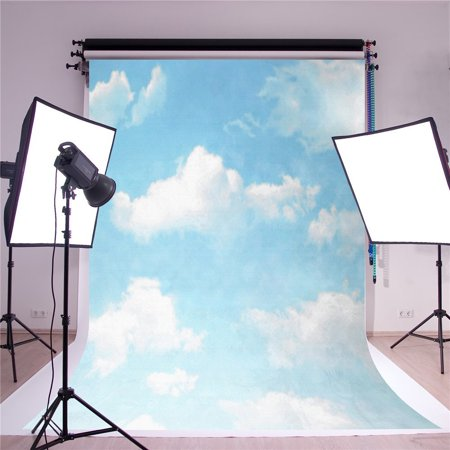 HelloDecor Polyster 5x7ft Blue Sky Photographic Backgrounds Material White Cloud Photo Backdrop (Sky Backdrop)