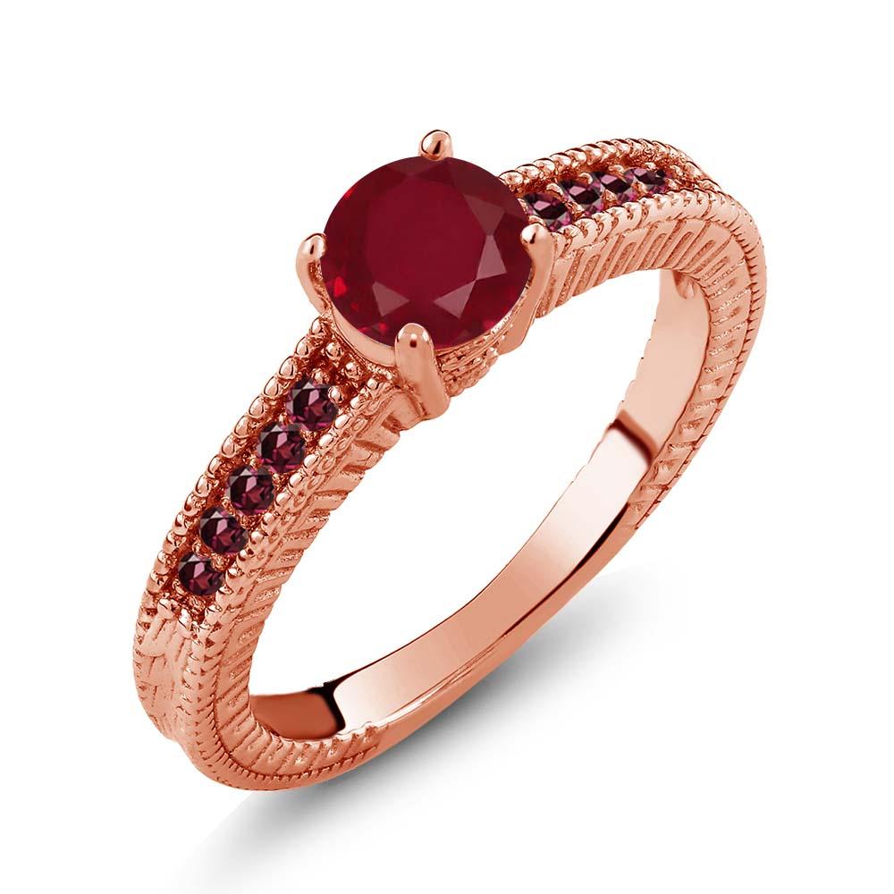 1.30 Ct Round Red Ruby Rhodolite Garnet 14K Rose Gold Eng...