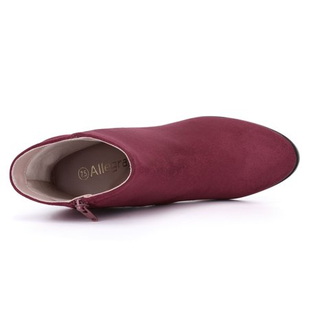 Women Round Toe Stacked Block Heel Ankle Booties Burgundy US 9 - image 2 of 7