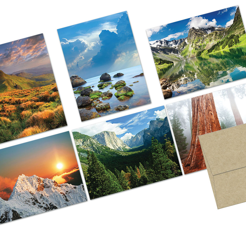 72 Note Cards  - Majestic Scenery- 6 Designs  - Blank Cards - Kraft Envelopes Included