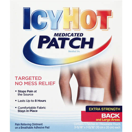 Icy Hot Extra Strength for Back and Large Areas Medicated Patch,5 ct, Menthol 5%