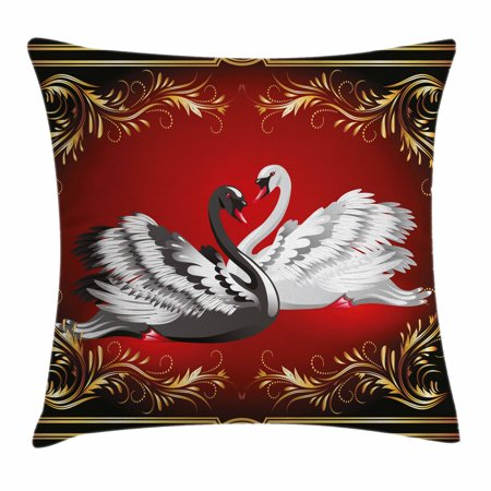 Animal Throw Pillow Cushion Cover, Black and White Swan Couple Ornamental Framework Romance Grace Tenderness Purity, Decorative Square Accent Pillow Case, 16 X 16 Inches, Multicolor, by Ambesonne