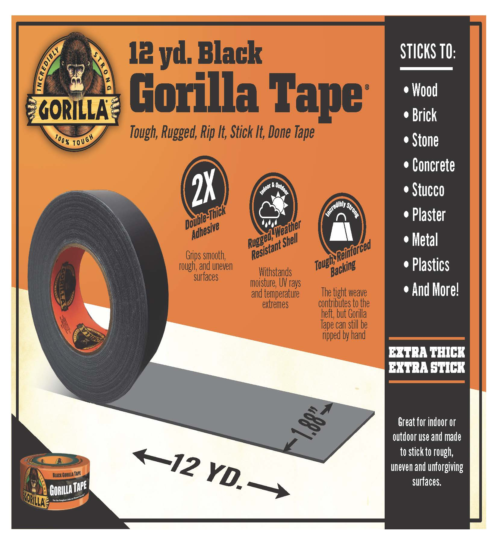 """Black Gorilla Duct Tape Roll 1.88/"""" x 12 yd Tough Wide Waterproof Adhesive Cloth"""