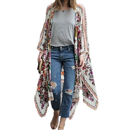 - Women Vintage Floral Loose Shawl Long Kimono Cardigan Boho Shirt Bikini Swimwear Cover Up S