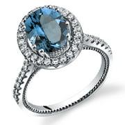 2.25 Carats London Blue Topaz Halo Milgrain Ring in Sterling Silver