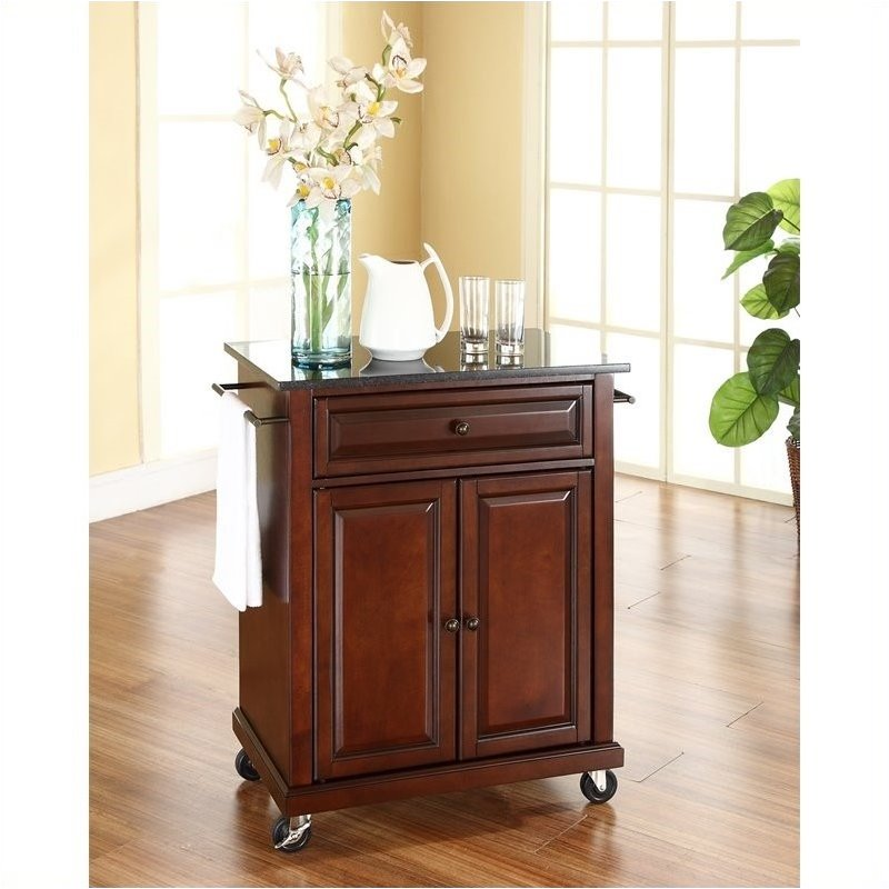 Pemberly Row Solid Black Granite Top Mahogany Kitchen Cart