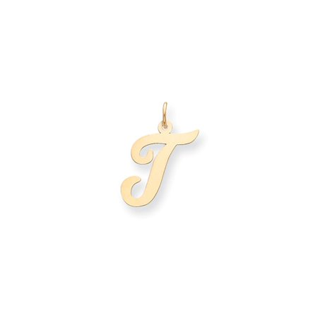 14k Yellow Gold Polished Flat Script Upper Case Letter T Initial Charm 22x12-17mm