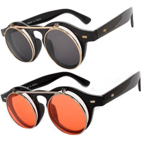 Flip Up Steampunk Vintage Retro Round Circle Gothic Hippie Colored Plastic Frame Sunglasses Colored Lens OWL (2 Pack) (Retro Sunglasses Cheap)
