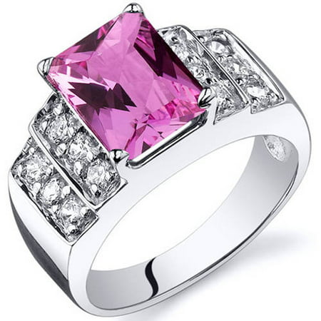 Radiant Cut 3.00 carats Pink Sapphire Cubic Zirconia Sterling Silver Ring in Sizes 5 to 9 Style SR10312