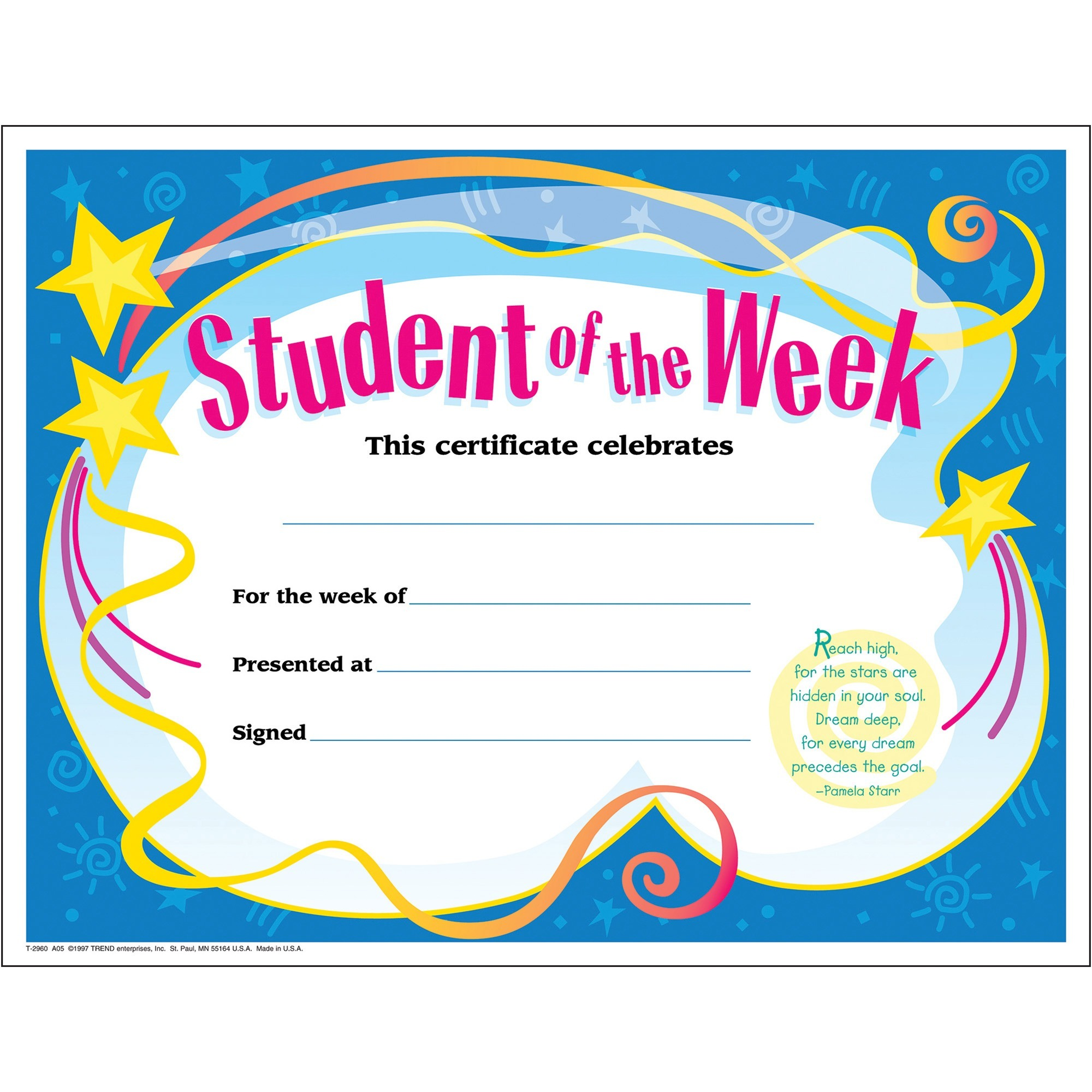 Trend, TEPT2960, Student of The Week Award Certificate, 30 / Pack