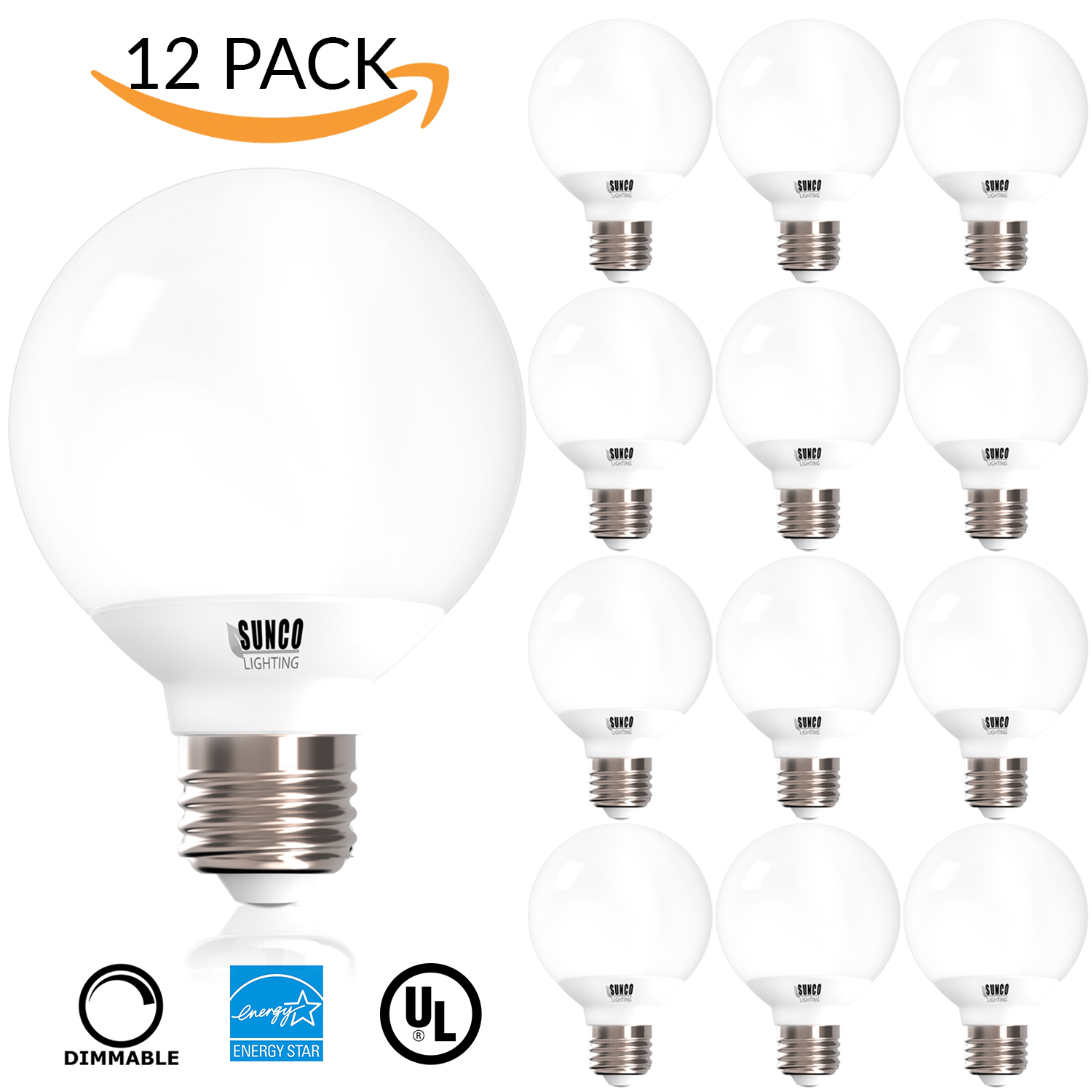12 PACK - UL & ENERGY STAR LISTED - 6W Dimmable G25 LED Bulb, (= 40W) Vanity Light Bulb, Soft White 2700K, Medium E26 Screw, Omnidirectional Globe Bulb for Bath, Pendant, Dressing Room & Decorative