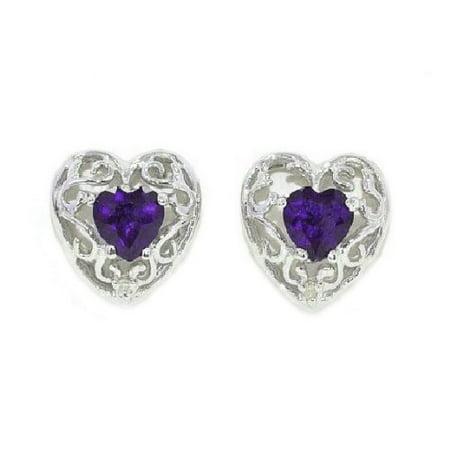 1 Ct Alexandrite Heart LOVE Diamond Stud Earrings .925 Sterling Silver ()