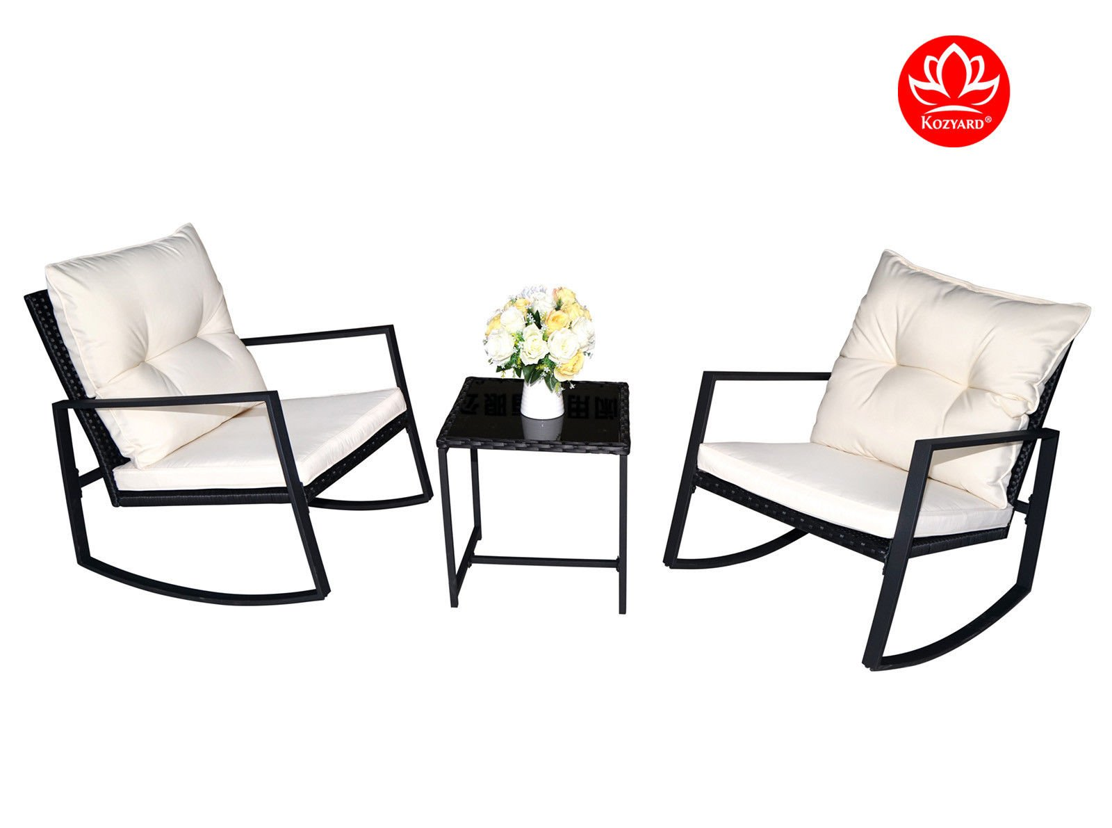Kozyard Moana Outdoor 3 Piece Rocking Wicker Bistro Set, Two Chairs And One  Glass