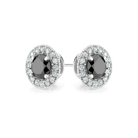 9/10 Carat (ctw I2-I3) Enhanced Black Diamond and Synthetic White Topaz Halo Stud Earrings in Sterling Silver