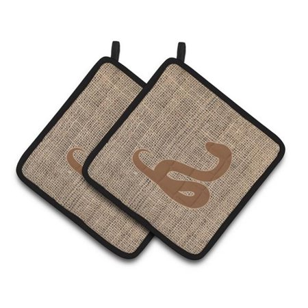 Carolines Treasures BB1124-BL-BN-PTHD Snake Faux Burlap & Brown Pair of Pot Holders, 7.5 x 3 x 7.5 in. - image 1 of 1