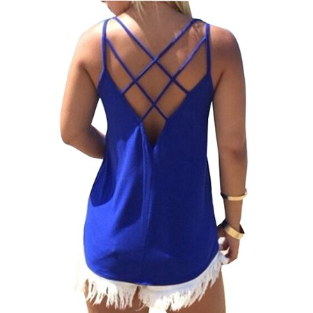 Women's Cute Criss Cross Back Tank Tops Loose Hollow Out Camisole