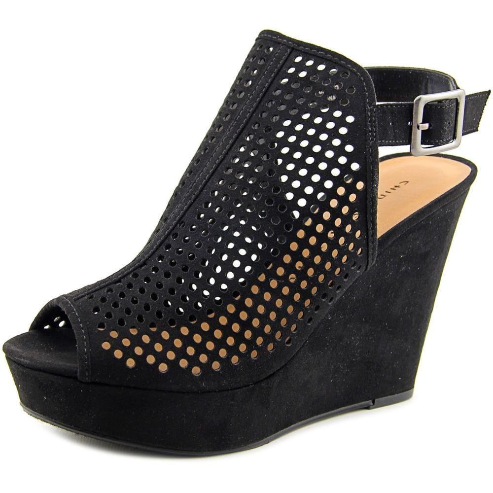 Chinese Laundry Womens Iris Leather Peep Toe Ankle Wrap Wedge, Black, Size 10.0