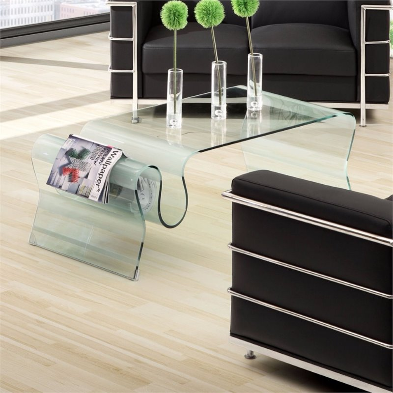 ZUO Discovery Coffee Table in Clear Glass