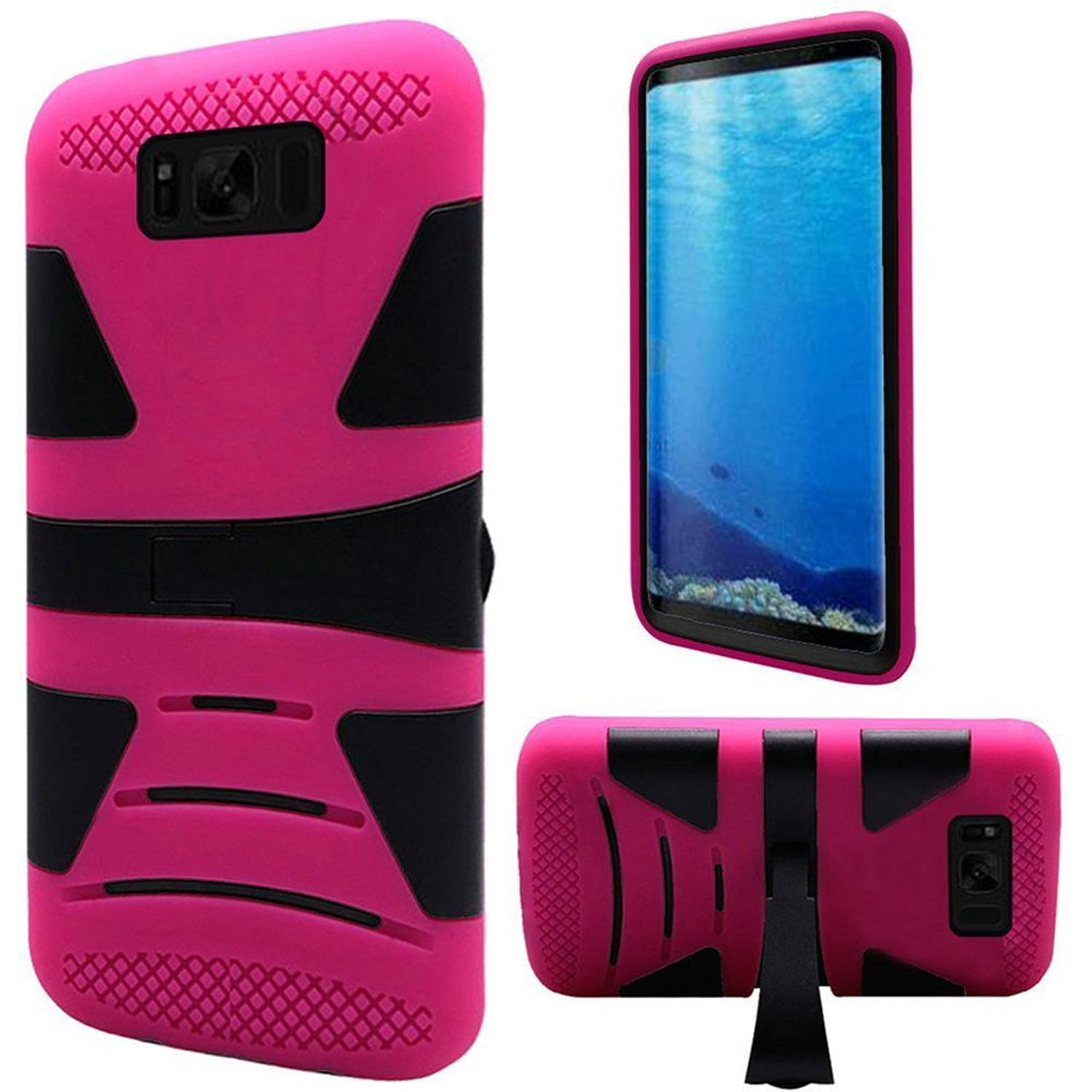 Insten Dual Layer [Shock Absorbing] Hybrid Stand Hard Plastic/Soft TPU Rubber Case Phone Cover For Samsung Galaxy S8, Black/Hot Pink