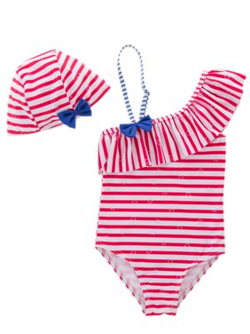 styleilove Little Girls Striped Ruffle One Shoulder One-Piece Swimsuit With Hat 2 Pcs Set (5, Red)