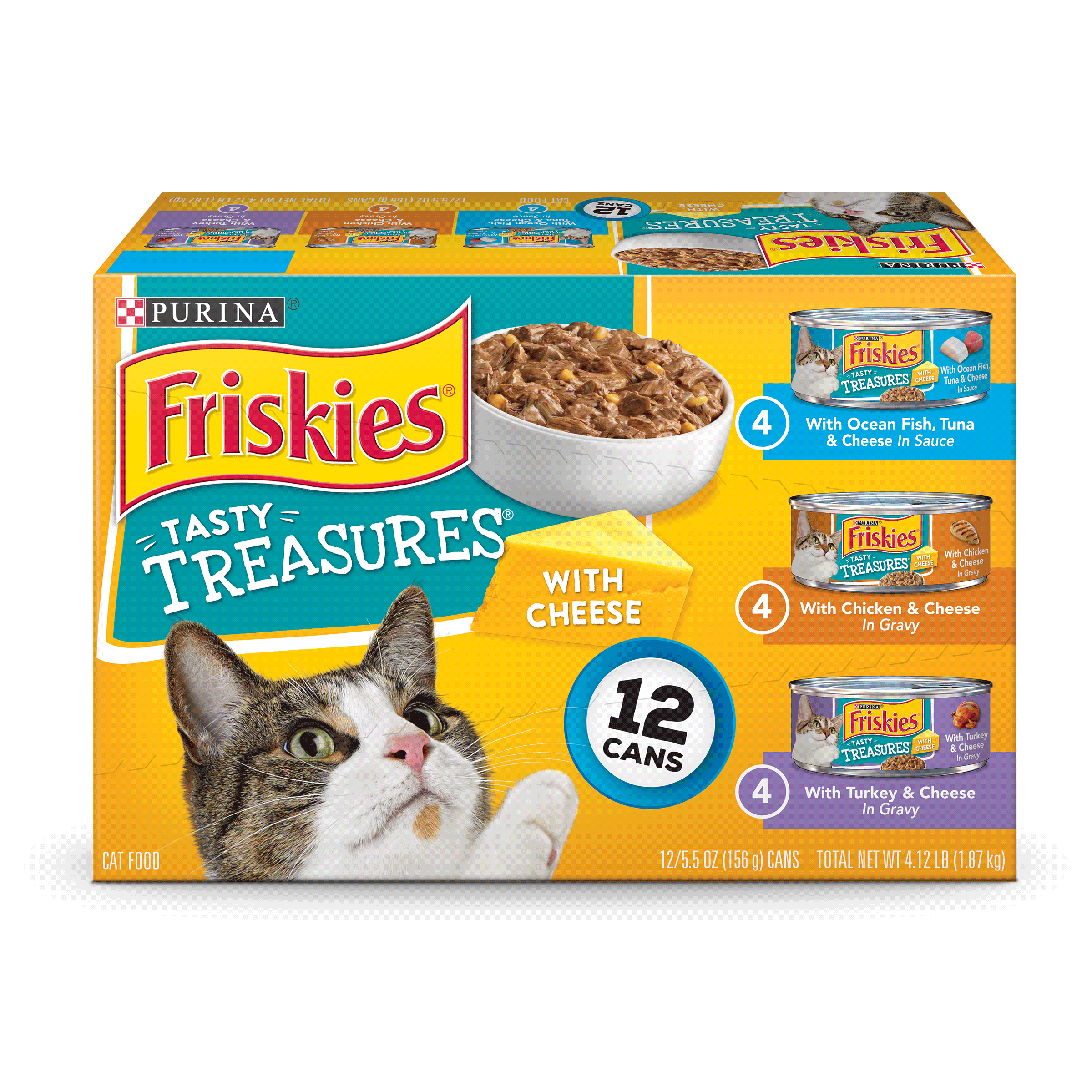 Friskies Tasty Treasures With Cheese Adult Wet Cat Food Variety Pack (12) 5.5 oz. Cans by Nestle Purina Petcare Company