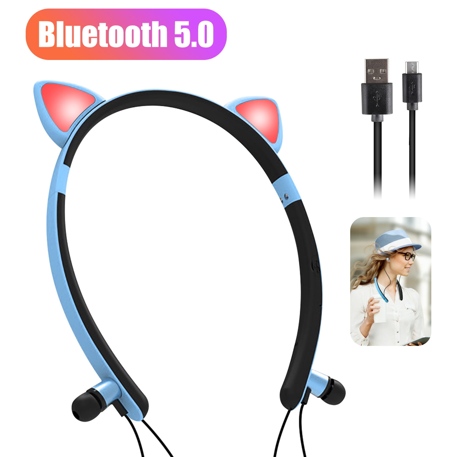Bluetooth Headphones Bluetooth 5 0 Wireless Cat Ear Headset With Magnetic Earbuds Sweatproof Sports Earphones With Mic Led Light In Ear Hifi Stereo Noise Cancelling Wireless Earbuds Blue Pink Walmart Com Walmart Com