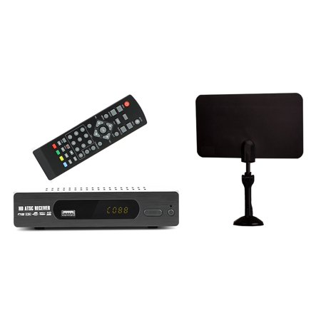 Digital Converter Box For Tv   Flat Antenna For Recording And Viewing Full Hd Digital Channels Free  Instant Or Scheduled Recording  Dvr  1080P Hdtv  Hdmi Output  7 Day Program Guide And Lcd Screen