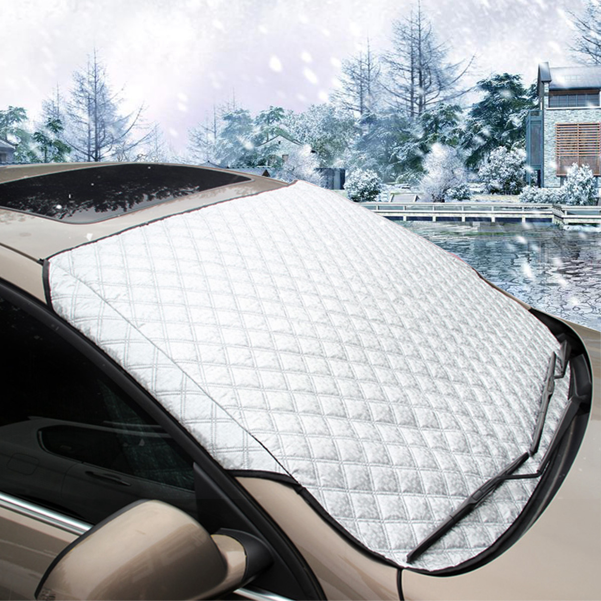 MATCC All-seasons Car Windshield Snow Cover & Sun Shade Cover & UV Protector Cover with Cotton Thicker ,Universal for Auto SUV Small Car, 57.87(width) X 40.16(height)