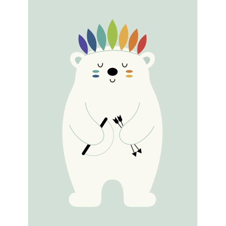 Be Brave Polar Boho Bohemian Bear Graphic Animal Nursery Childrens Kids Room Artwork Print Wall Art By Andy Westface