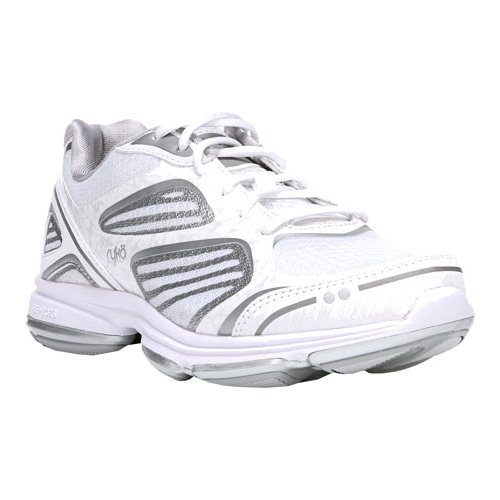 ryka women's devotion plus walking shoe, white/chrome silver/frosted almond, 6 w us