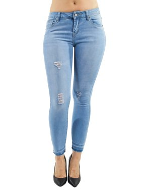 Women's Juniors, Mid Waist, Ripped Skinny Jeans