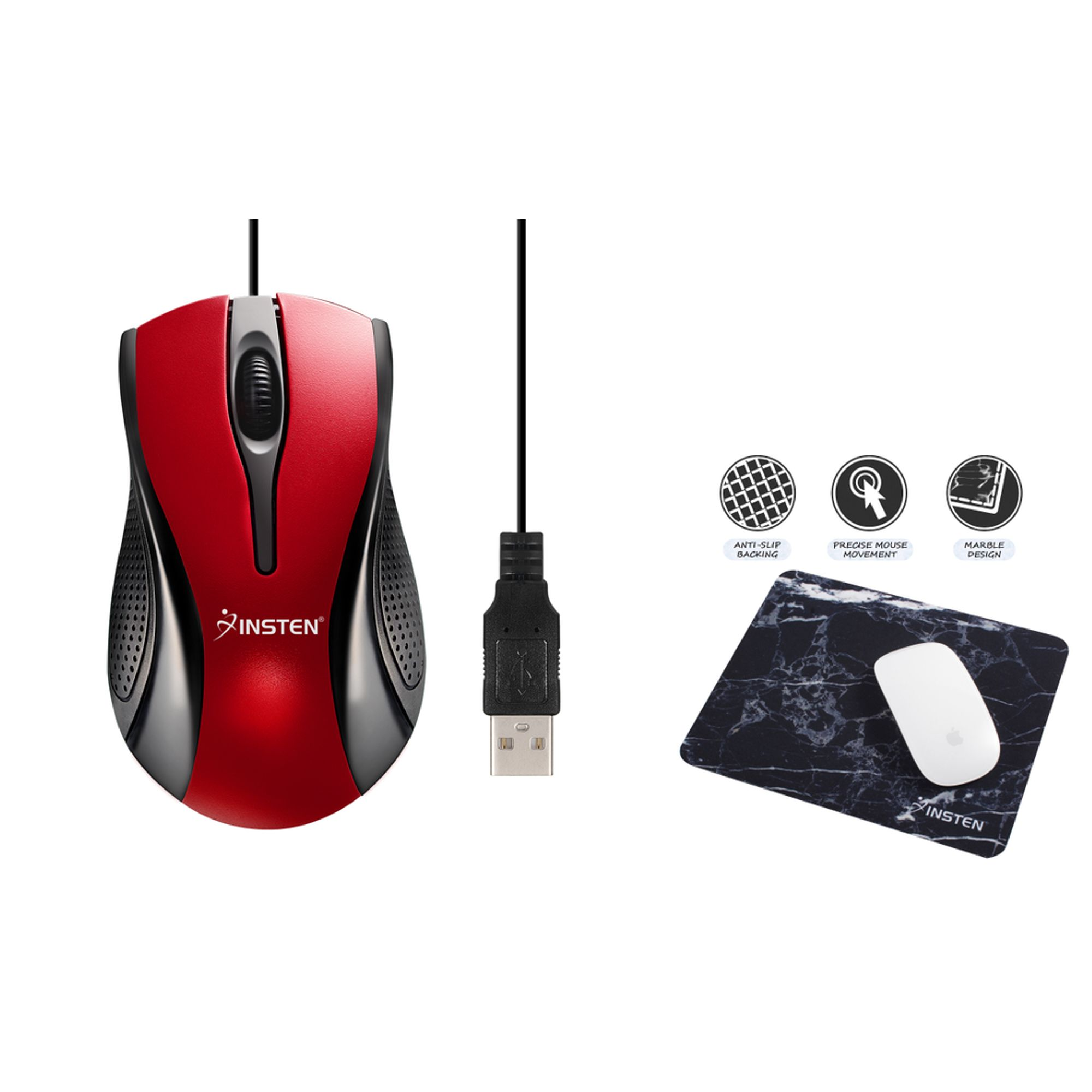 Insten Red/Black USB Optical Scroll Wheel Mouse + Black Marble Mouse Pad