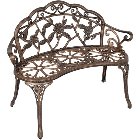 Best Choice Products 39in Metal Outdoor Park Bench Porch Chair Yard Furniture for Backyard, Garden, Patio, Porch w/ Rose Accented Design - Bronze ()