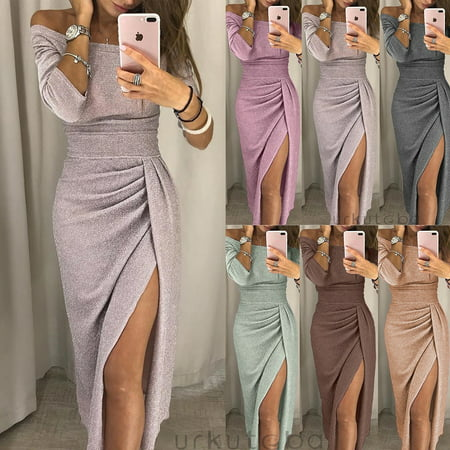 Womens Off Shoulder Long Sleeve Bodycon Evening Cocktail Party Long Dress