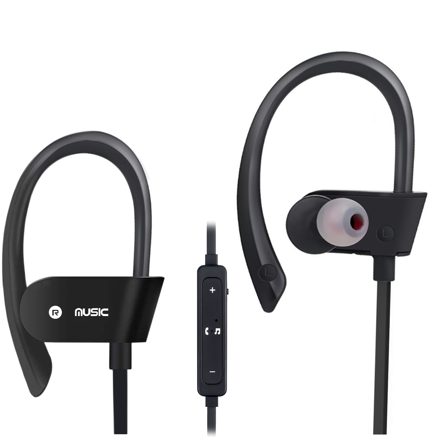 Bluetooth Headphones, Wireless Sports Earphones w/ Mic IPX7 Waterproof HD Stereo Sweatproof In Ear Earbuds for Gym Running Workout, 8 Hour Play Time Noise Cancelling Headsets