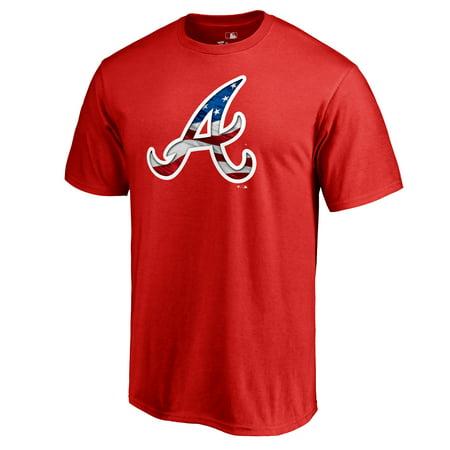 Atlanta Braves Fanatics Branded 2019 Stars & Stripes Big & Tall Primary Logo Banner Wave T-Shirt -