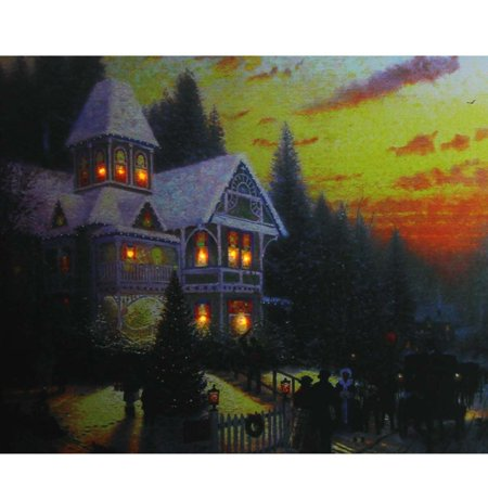 LED Lighted Victorian Christmas at Sunset Canvas Wall Art 15.75