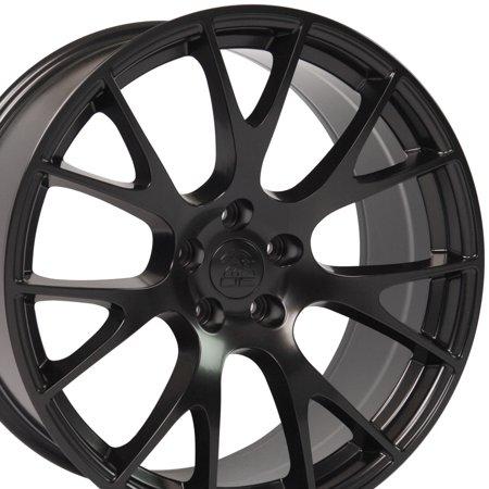 20 Inch Hellcat wheel - Fits Dodge Challenger, Charger SRT8, Magnum, Chrysler 300 SRT8 - DG15  Satin Black 20x9 Rim Hollander 2528
